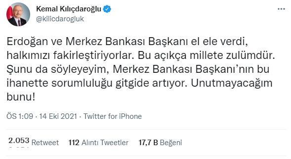 kılıçdaroğlundan merkez bankası başkanı kavcıoğluna sert tepki